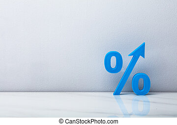 Blue Percentage Sign With Arrow