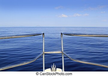 blue perfect sea cruising boat bow calm ocean