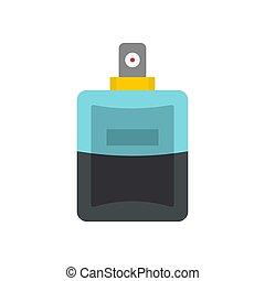Blue perfume bottle icon, flat style