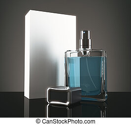 Blue perfume with packaging