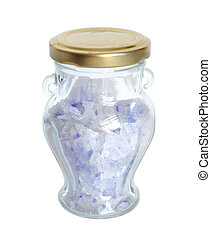 Blue Persian salt in the glass bottle.
