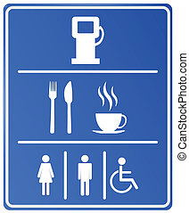 Blue Petrol Station Icon with gas station, food, coffee cup and wc
