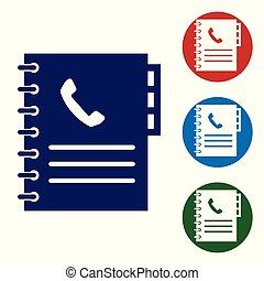 Blue Phone book icon isolated on white background. Address book. Telephone directory. Vector Illustration