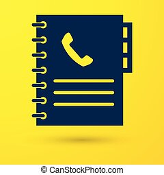 Blue Phone book icon isolated on yellow background. Address book. Telephone directory. Vector Illustration