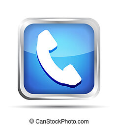 Blue phone button icon on a white background