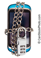 blue phone chained and closed by combination lock