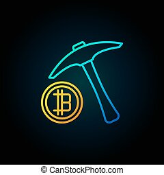 Blue pick axe with golden bitcoin icon. Vector...