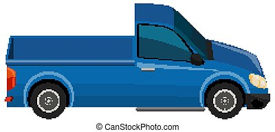 Blue pick up truck on white background