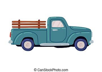 Blue Pickup, Agricultural Transport Cartoon Style Vector Illustration