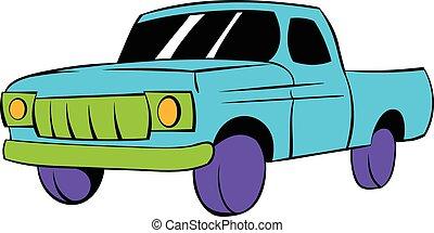 Blue pickup icon cartoon