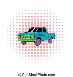 Blue pickup icon, comics style