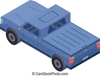 Blue pickup icon, isometric style