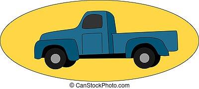 Blue pickup, illustration, vector on white background.
