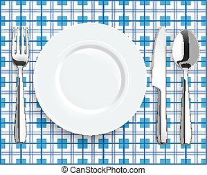 Blue Picnic Blanket Plate Spoon Knife Fork