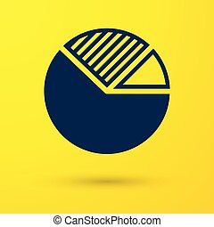 Blue Pie chart infographic icon isolated on yellow background. Diagram chart sign. Vector Illustration