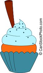 Blue pie, illustration, vector on white background.
