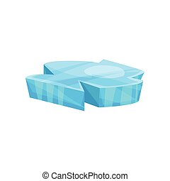Blue piece of ice, cold frozen block vector Illustration
