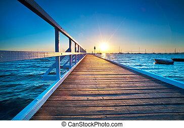 Blue Pier Sunrise