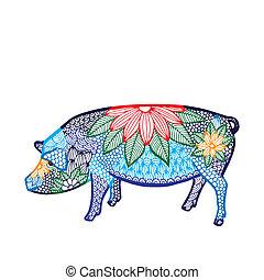 Pig illustration- Chinese zodiac - Blue Pig illustration-...