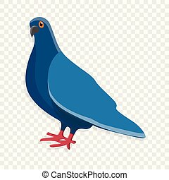Blue pigeon icon, cartoon style