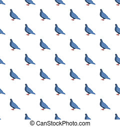 Blue pigeon pattern seamless