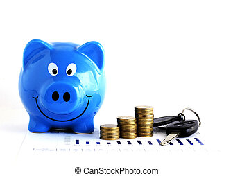 Blue piggy bank and Money coins stack and Car Key for Loans concept