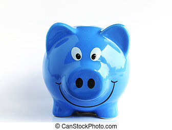 Blue piggy bank macro close up on white backgrounds