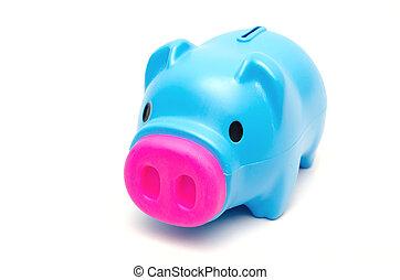 Blue piggy bank or money box isolated on white background.