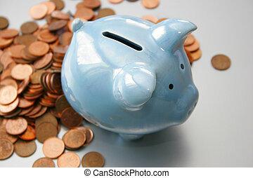 blue piggy bank - Blue ceramic pig on silver background