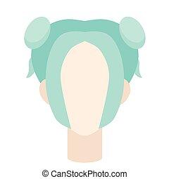 Blue pigtails flat illustration on white