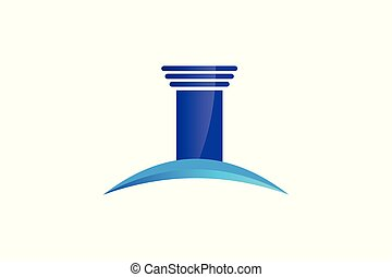 blue pillar, law logo inspiration isolated on white background