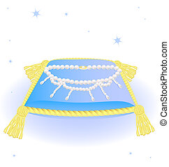 blue pillow and pearl necklace