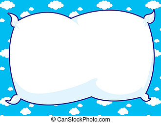 Cartoon frame with pillow inset and blue cloud background