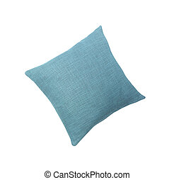 Blue pillow isolated on white
