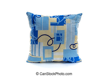 blue pillow on a white background