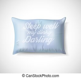 Blue Pillow on White Background with Real Shadow. Vector illustration