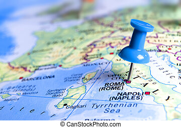 pin pointing at rome - blue  pin pointing at rome