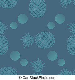 Blue pineapple in a seamless pattern design