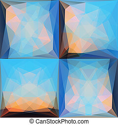 Blue Pink Abstract Triangular Backgrounds Set