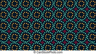 Blue, pink and orange kaleidoscope sequence pattern on dark background. 4k. Abstract multicolored motion graphics background. Beautiful bright ornament. Seamless loop.