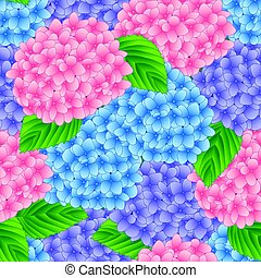 Blue, Pink and Purple Hydrangea Flower Seamless Background. Vector Illustration