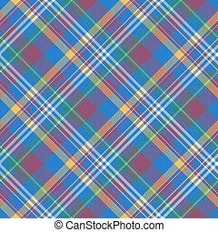 Blue pink check diagonal plaid madras seamless fabric ...