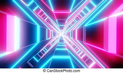 Blue pink cross shape tunnel abstract animation. loop able Sci-fi abstract backdrop.