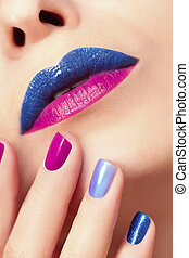 Blue pink fashion nails and lips.
