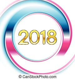 Blue pink ring New Year 2018 background