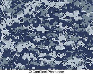 Blue pixels camouflage - Vector texture of blue pixels...