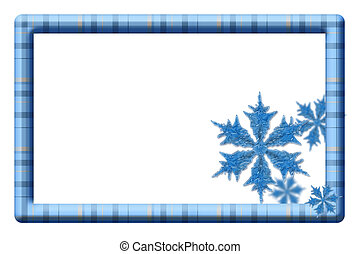 Blue plaid frame with snowflakes for your message or invitation