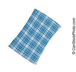 Blue plaid pillow isolated on white