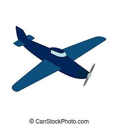Blue plane icon, isometric 3d style