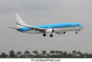 blue plane lands
